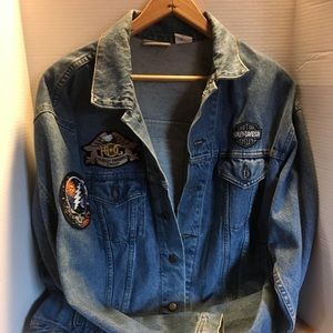 Vintage Denim Jacket patched out with Harley